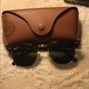 Ray Ban Polarized Clubmaster Sunglasses Tortoise